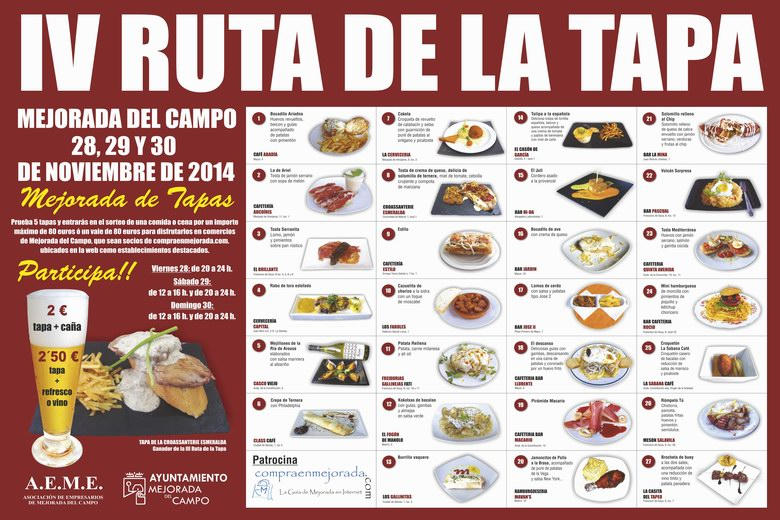"""27 restaurantes de Mejorada del Campo participan en la IV Ruta """"Mejorada de Tapas"""""""