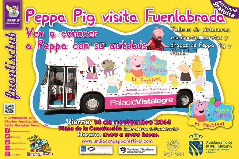 El viernes 14 de Noviembre el bus de Peppa Pig visita Fuenlabrada