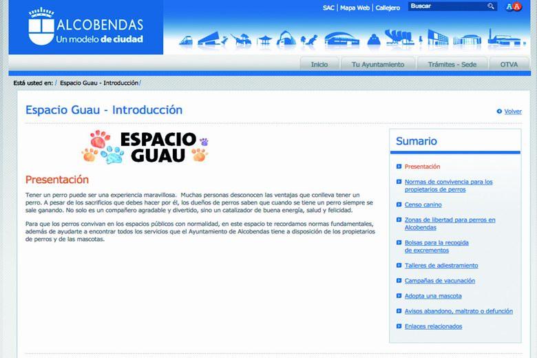 'Espacio Guau': el rincón para los perros en la web del Ayuntamiento de Alcobendas