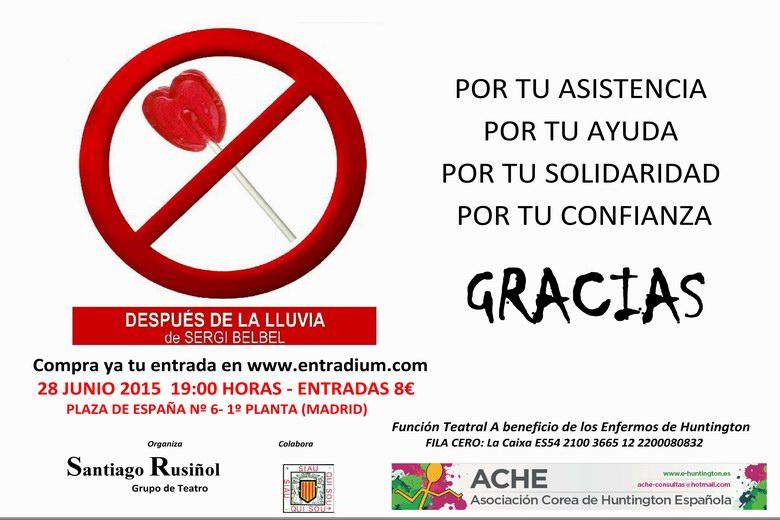 Función Teatral a favor de la Enfermedad de Corea de Huntington en Madrid