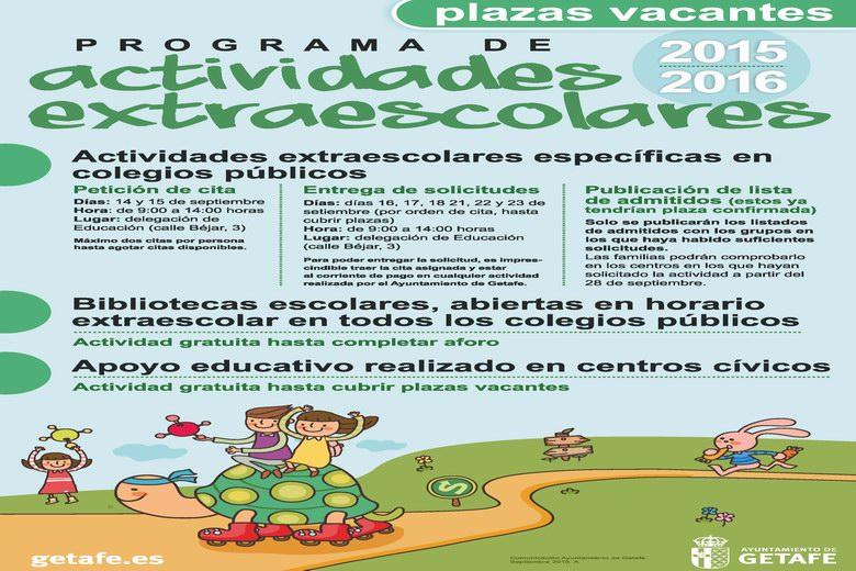 Getafe abre un nuevo plazo de inscripción para cubrir las plazas vacantes en el programa de actividades extraescolares