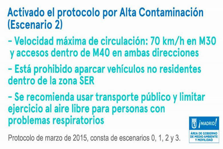 Continua el Escenario 2 del Protocolo de Contaminación de Madrid y el viernes no se podrá aparcar en la zona SER
