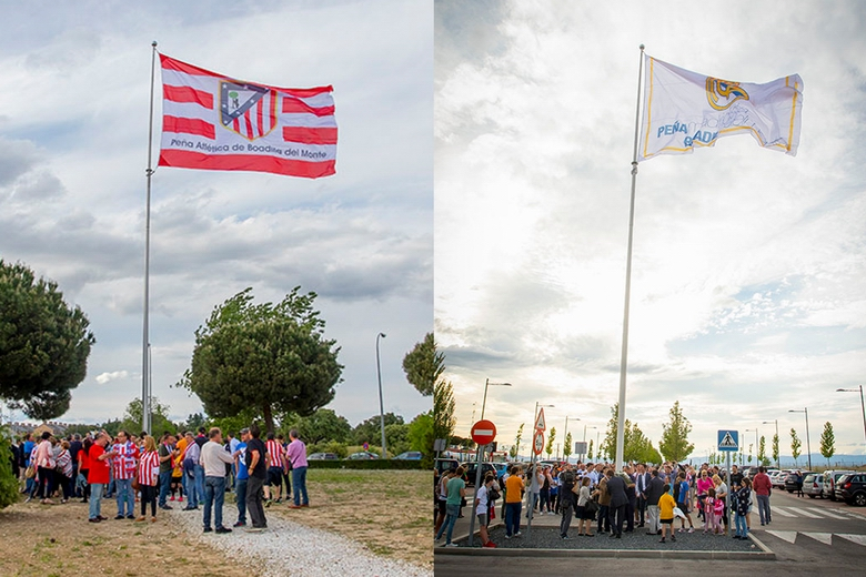 Las banderas del Atlético de Madrid y del Real Madrid ondean en Boadilla para reivindicar la deportividad y el juego limpio