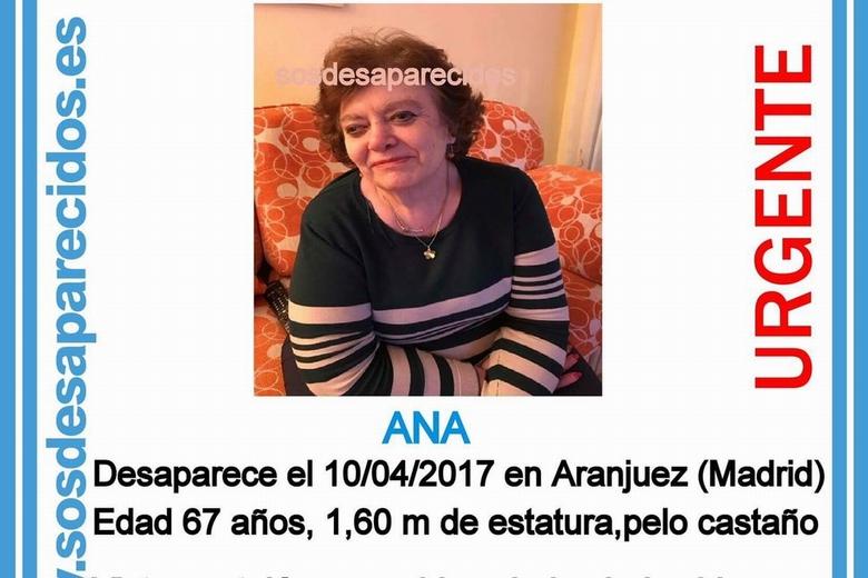 Sos desaparecidos busca a una mujer de 67 con alzh imer for Busco trabajo en aranjuez