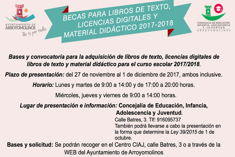 Arroyomolinos destina 30.000 euros para becas de libros de texto, licencias digitales de libros de texto y material didáctico