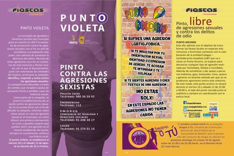 Las Fiestas de Pinto contarán con Puntos Violeta y Arcoíris y una campaña antidrogas