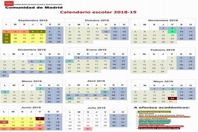 Calendario Escolar 2019 Madrid.Calendario Escolar Del Curso 2018 2019 Que Comienza Hoy En La