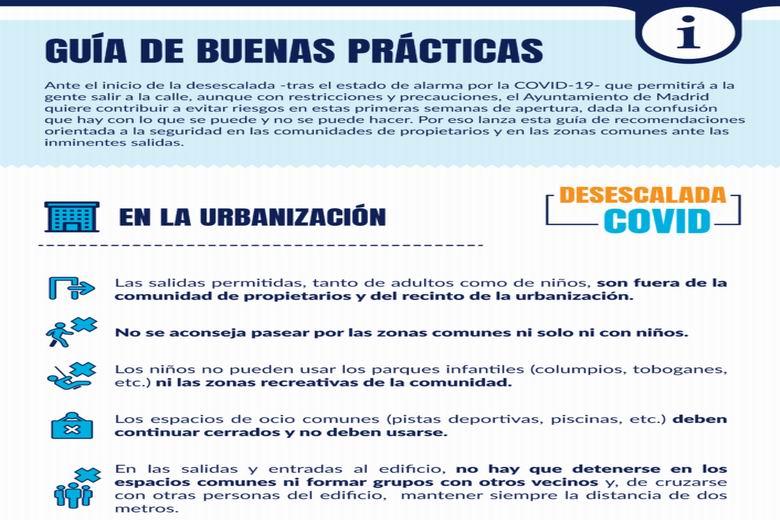 Madrid lanza una guía para evitar riesgos en fincas y urbanizaciones con el inicio de la desescalada por la COVID-19