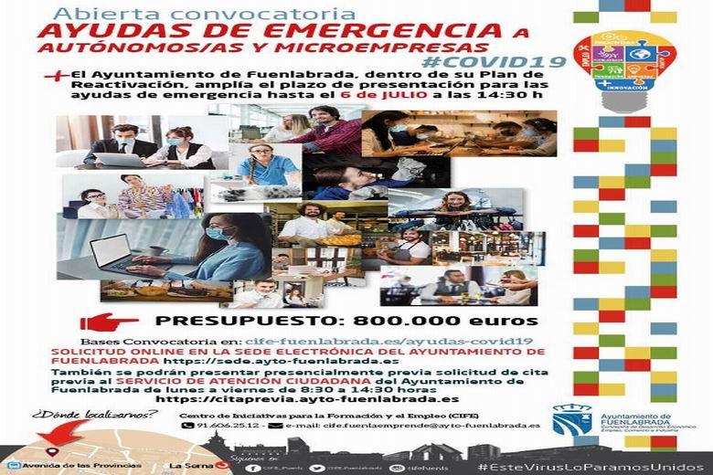 Fuenlabrada amplia el plazo para que autónomos, autónomas y microempresas afectadas por la crisis del COVID-19 soliciten la ayuda municipal de 400 euros