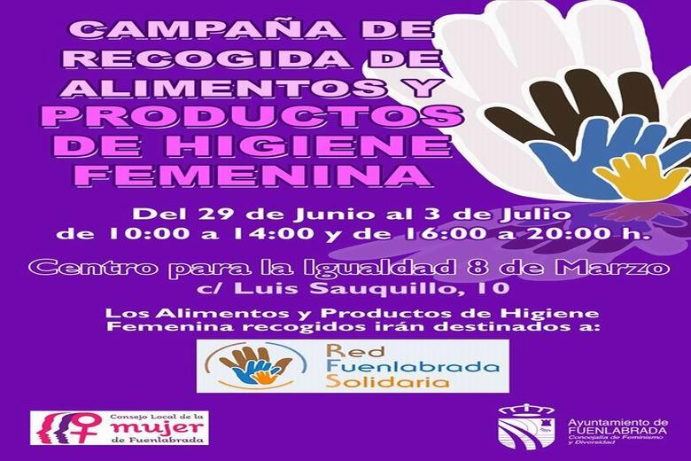 El Consejo Local de la Mujer de Fuenlabrada se suma a la Red Solidaria con una campaña de recogida de productos de higiene femenina