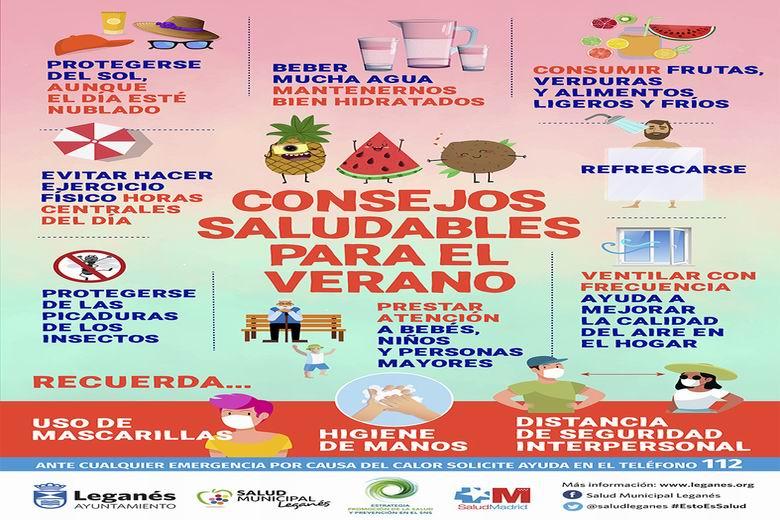 Leganés inicia una campaña con consejos saludables para el verano recordando las medidas de protección frente a la Covid-19
