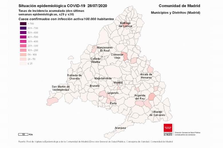 Collado Villalba suma 10 casos confirmados de coronavirus COVID-19 en los últimos 14 días y acumula un total de 592 positivos desde el principio de la pandemia