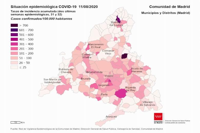 Móstoles suma 437 casos confirmados de coronavirus COVID-19 en los últimos 14 días y acumula un total de 3.013 positivos desde el principio de la pandemia