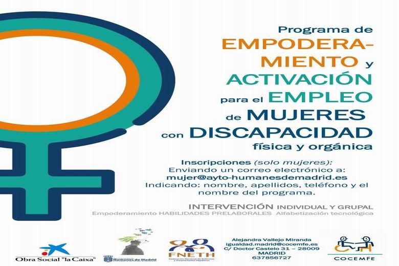 Humanes organiza un curso gratuito online de empoderamiento y activación para el empleo dirigido a mujeres con discapacidad
