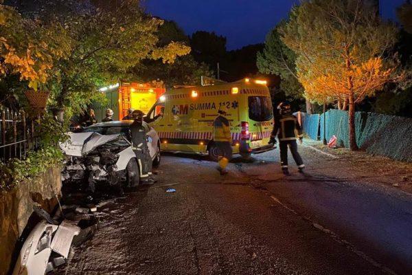 collado villalba accidente camino pizarro choque muro joven herida 01