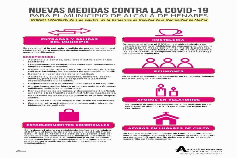 Resumen de las nuevas restricciones en Alcalá para evitar la transmisión de la COVID-19 en la ciudad