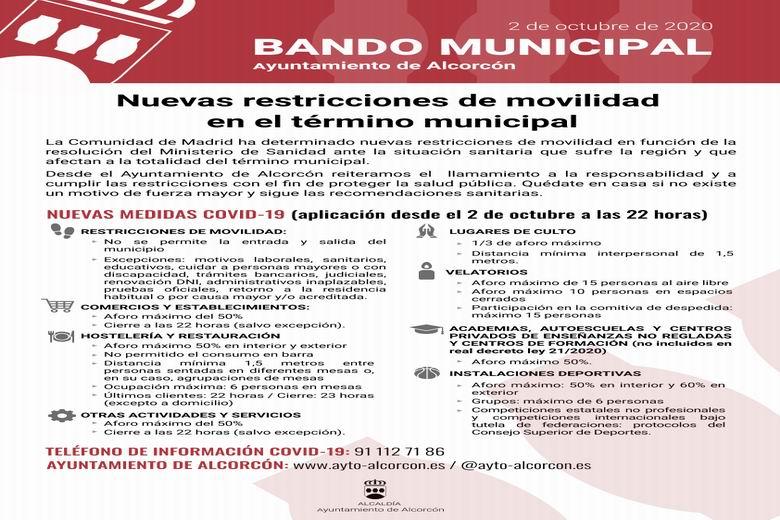 Resumen de las nuevas restricciones en Alcorcón para evitar la transmisión de la COVID-19 en la ciudad