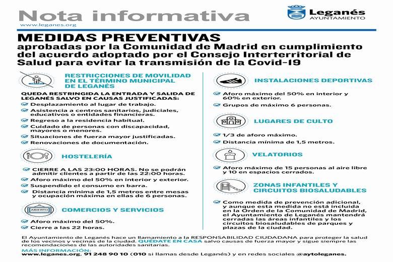 Resumen de las nuevas restricciones en Leganés para evitar la transmisión de la COVID-19 en la ciudad