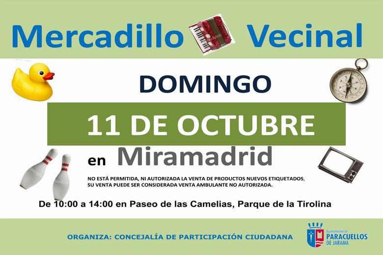 El próximo Mercadillo Vecinal de Paracuellos tendrá lugar el domingo 11 de octubre en Miramadrid