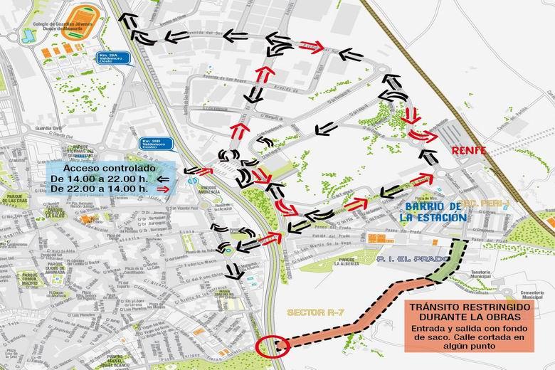 Reordenación del tráfico y la movilidad en el eje del Paseo de la Estación de Valdemoro por las obras del nuevo colector