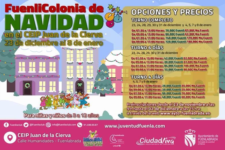 Fuenlabrada abre el plazo de inscripción de las 'Fuenlicolonias de Navidad', dirigidas a familias con dificultades para conciliar o en situación de vulnerabilidad