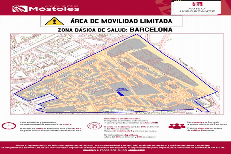 Móstoles apela a la responsabilidad de todos ante el confinamiento del área básica de salud de la calle Barcelona