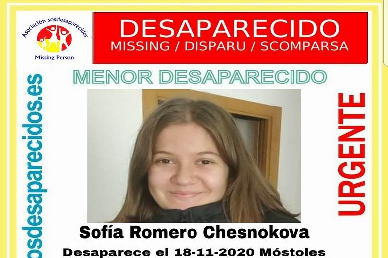 SOS Desaparecidos busca a una menor de 14 años desaparecida en Móstoles