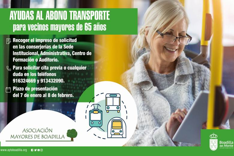 Los mayores de Boadilla podrán solicitar desde el 7 de enero la ayuda económica al pago del Abono Transporte