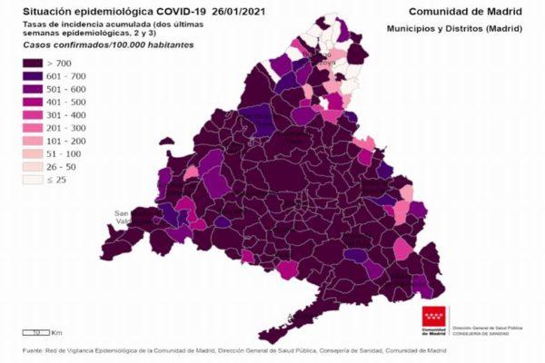 coronavirus covid casos comunidad madrid 26 enero tasa incidencia