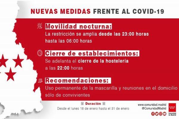 nuevas medidas frente al covid comunidad de madrid toque de queda cierre hosteleria reuniones domicilio no convivientes