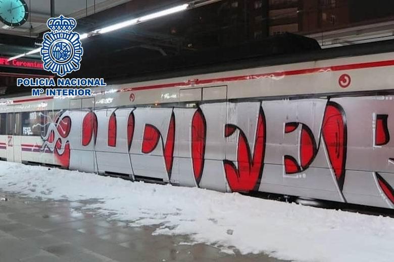 Detenidos 26 grafiteros por causar daños en medios de transporte durante el temporal Filomena