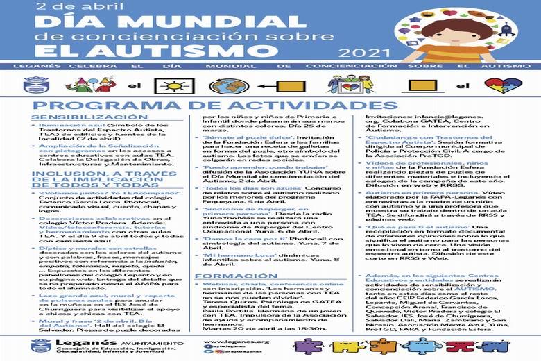 El Ayuntamiento, entidades y centros educativos de Leganés conmemoran el Día Mundial de Concienciación sobre el Autismo