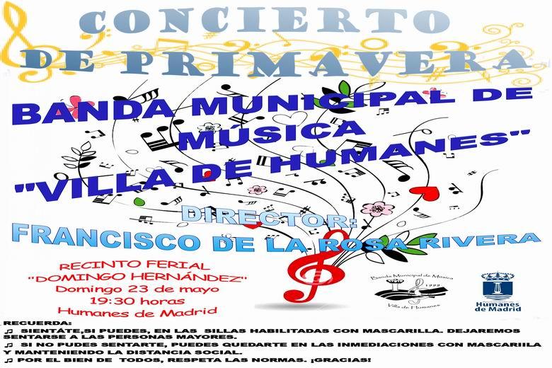 """La Banda de Música Municipal """"Villa de Humanes de Madrid"""" ofrecerá un concierto de primavera en el recinto ferial Domingo Hernández."""